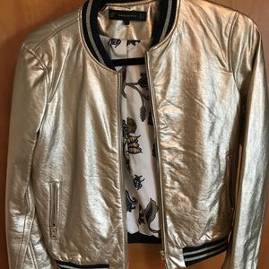 Zara faux leather gold bomber
